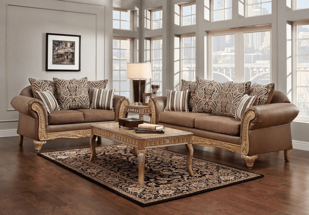 2PC Anna Brown Sofa and Loveseat Set - 6700-Anna Brown