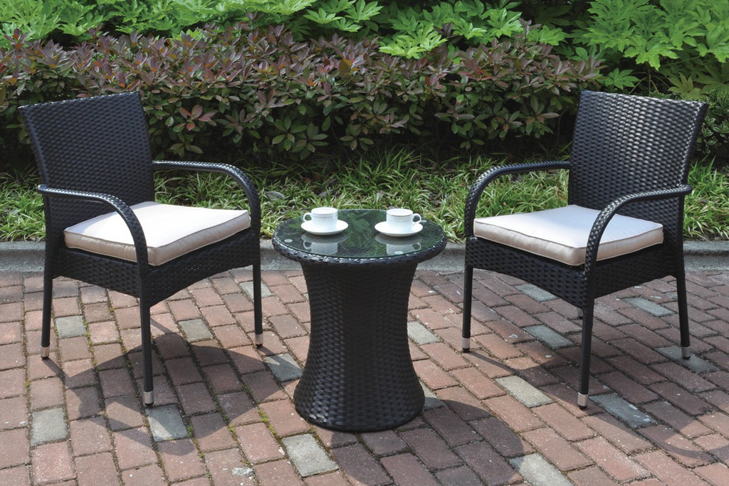 3PC OUTDOOR BISTRO SIDE TABLE AND 2 ARM CHAIRS