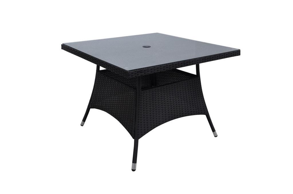DARK BROWN GREY OUTDOOR SQUARE TABLE
