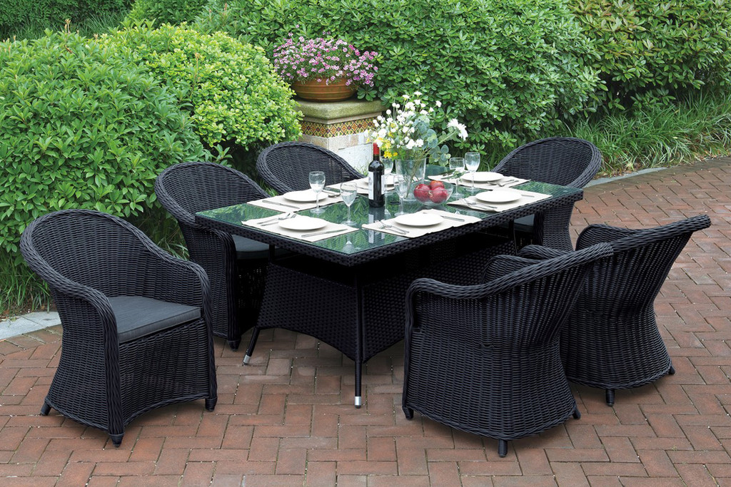7PCS OUTDOOR PATIO SET WITH LARGE RECTANGULAR TABLE
