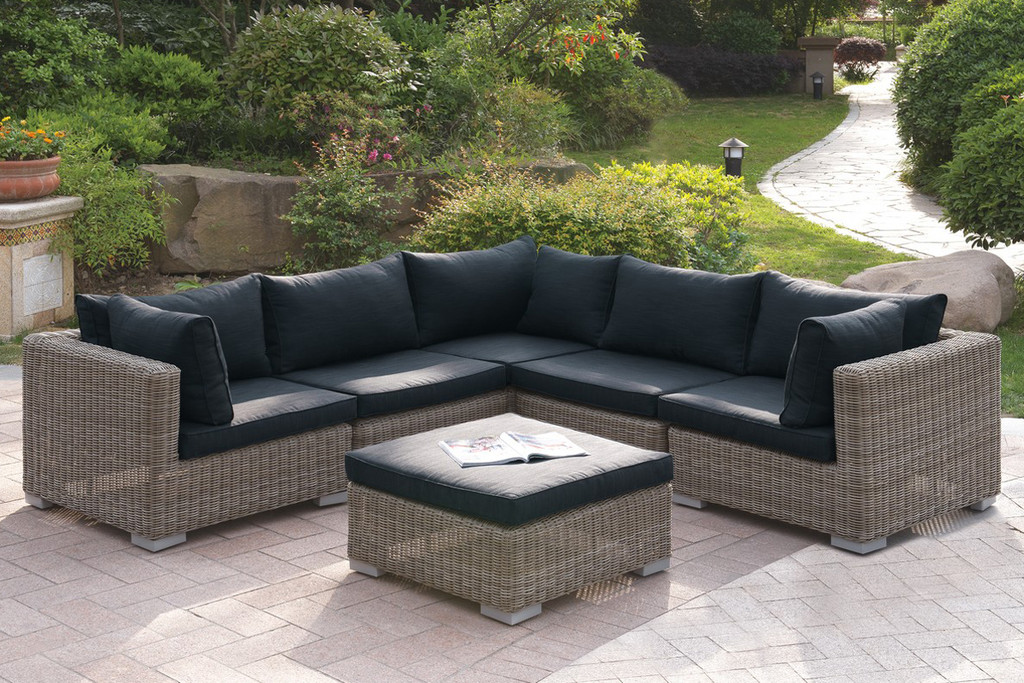 6PC OUTDOOR PATIO SOFA SET IN TAN RESIN WICKER FINISH AND BLACK SEAT CUSHIONS WITH OTTOMAN