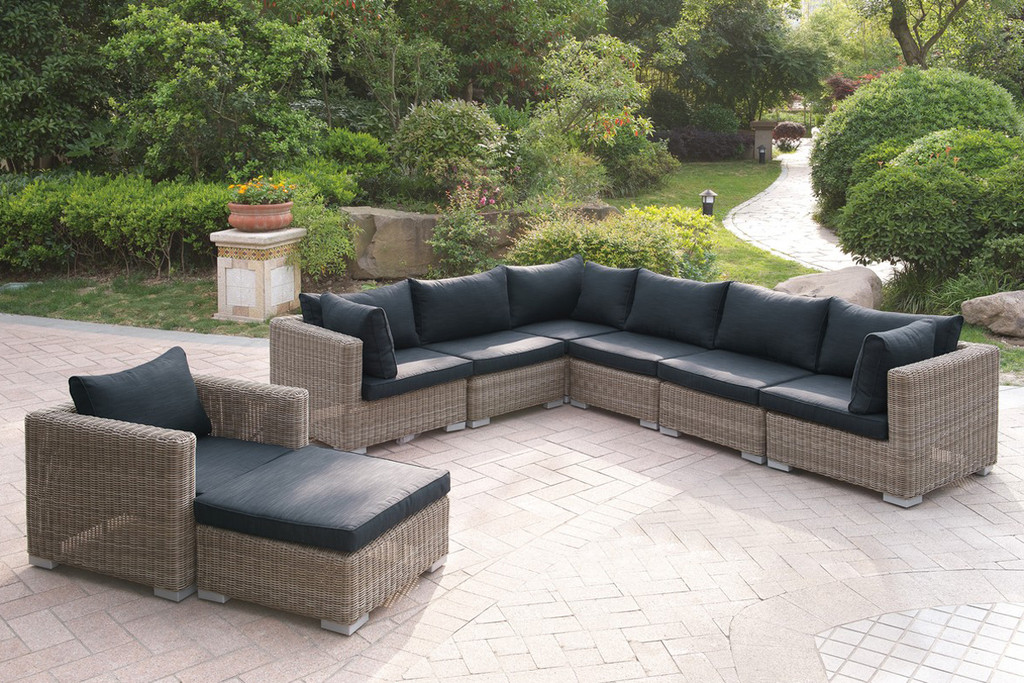 8PC OUTDOOR PATIO SOFA SET IN TAN RESIN WICKER FINISH AND BLACK SEAT CUSHIONS