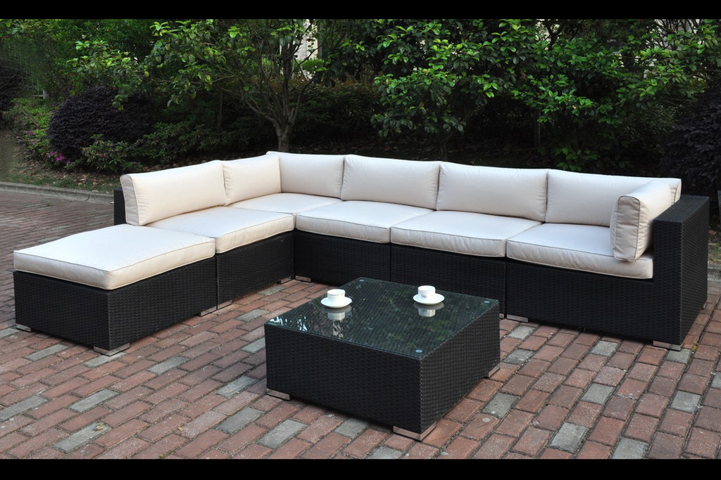 7PC OUTDOOR PATIO SECTIONAL SET IN DARK BROWN RESIN WICKER FINISH AND CREAM SEATS WITH BACK CUSHIONS