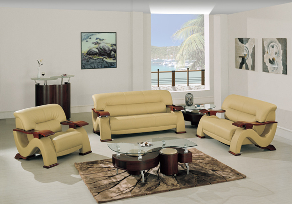 CHICAGO CONTEMPORARY LEATHER SOFA AND LOVESEAT IN CAPPUCCINO
