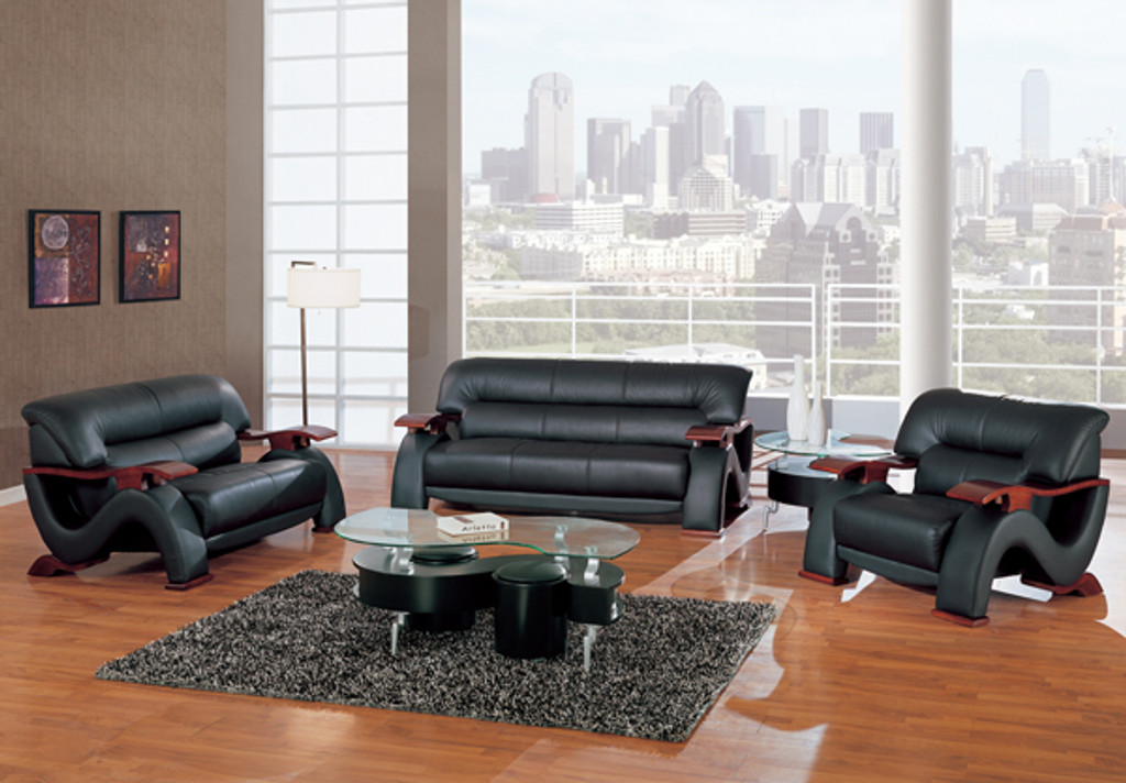Surprising Chicago Contemporary Leather Sofa And Loveseat In Black Gmtry Best Dining Table And Chair Ideas Images Gmtryco