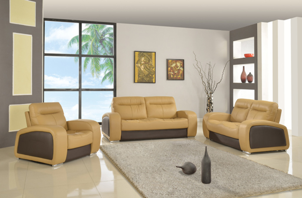 LENNY LEATHER SOFA AND LOVESEAT IN CAPPUCCINO