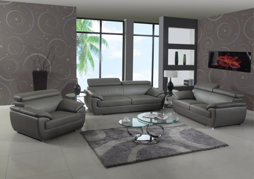 ZENON MODERN LEATHER SOFA AND LOVESEAT IN GRAY