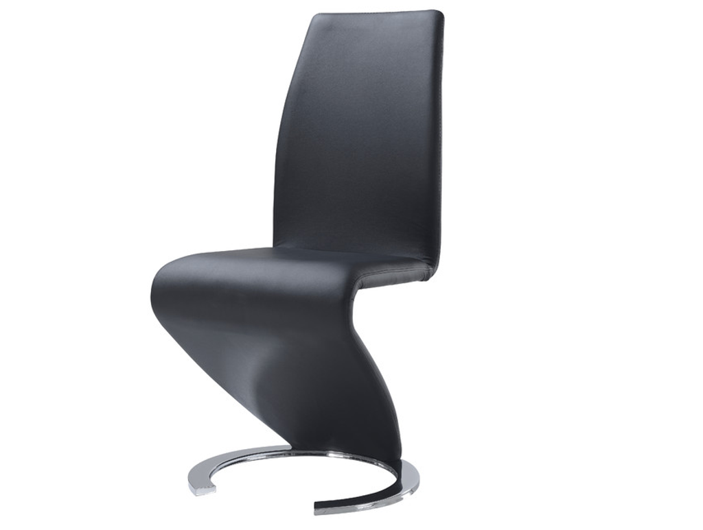 MODERN ZIG ZAG BLACK LEATHER AND CHROME ROUND BASE CHAIRS (Set of 2)