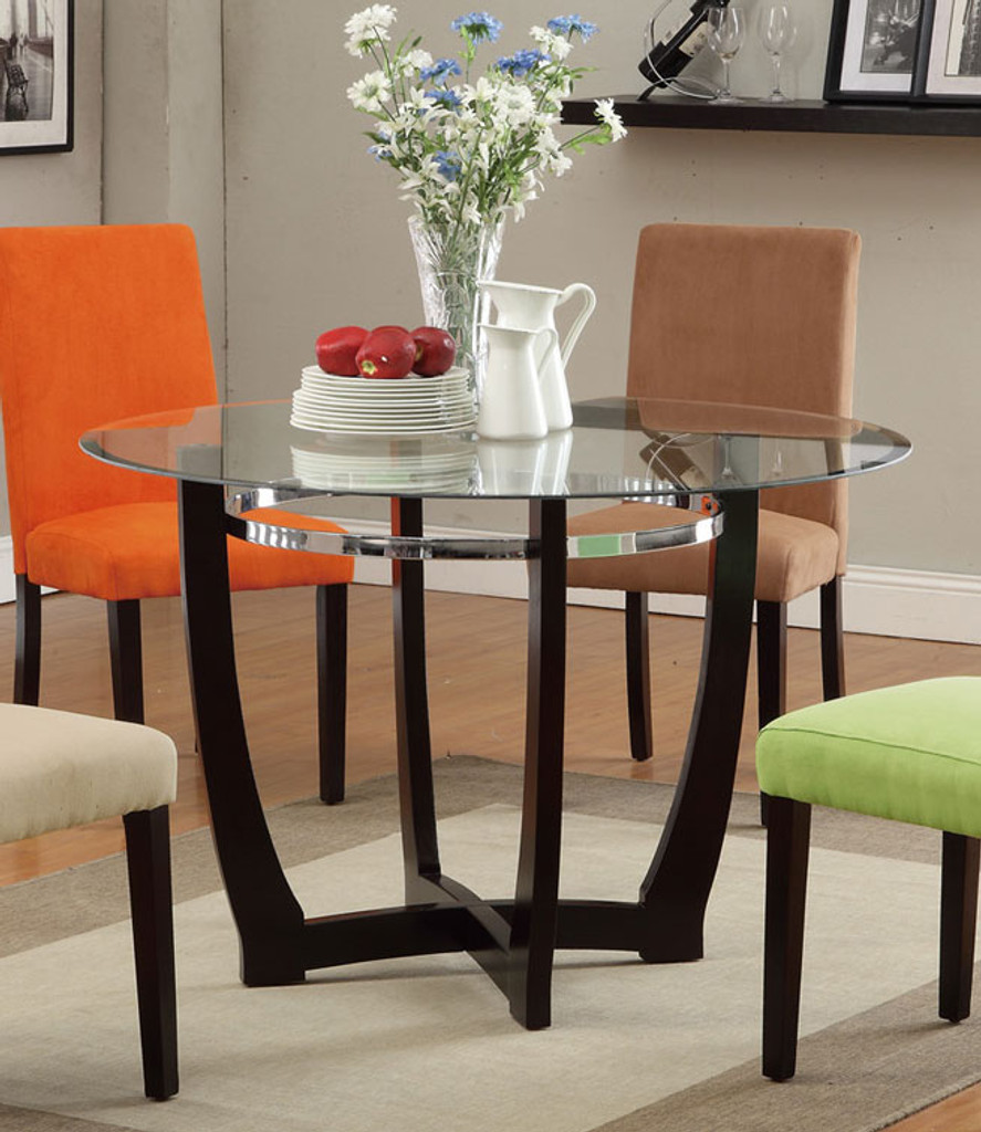 ESPRESSO WOODEN BASE ROUND DINING TABLE-F2348