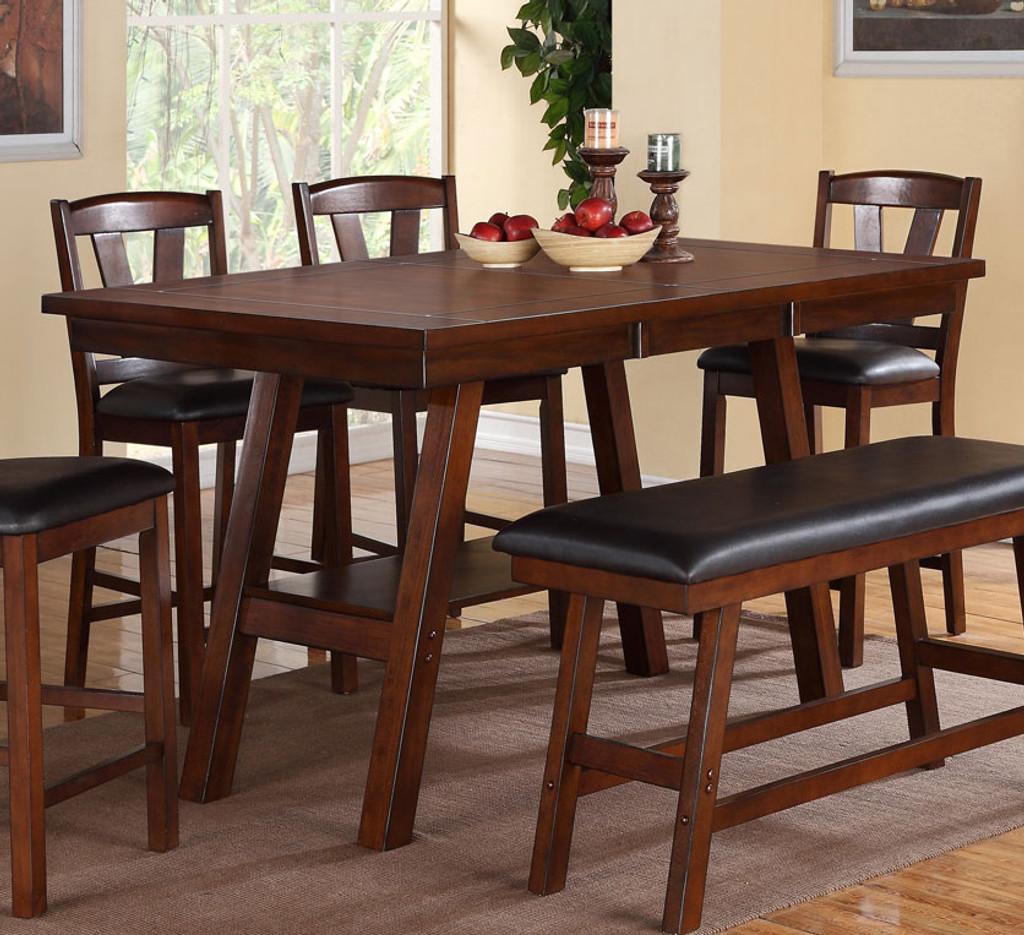 DARK WALNUT FINISH COUNTER HEIGHT TABLE-F2273
