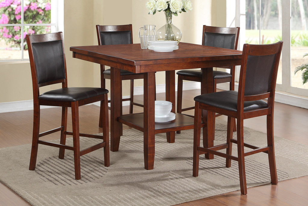BLACK FAUX LEATHER COUNTER HEIGHT TABLE-F2264