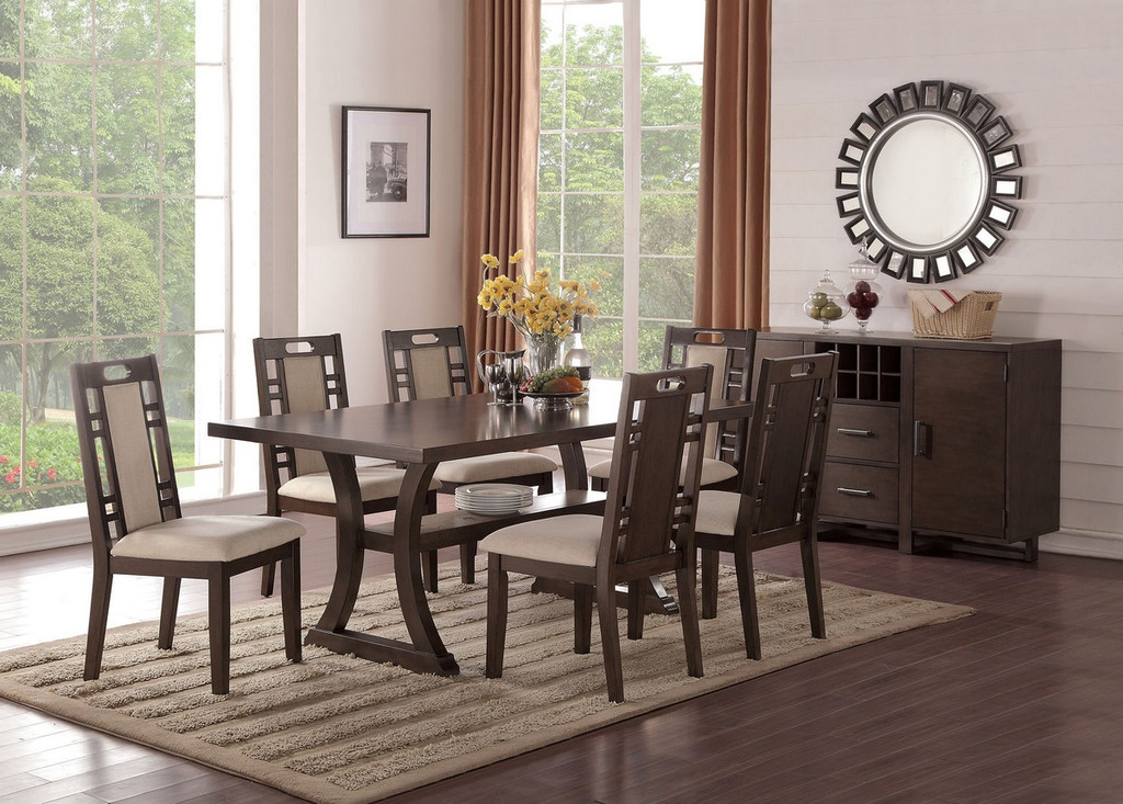 CURVED LEG SUPPORTS DINING TABLE-F2379