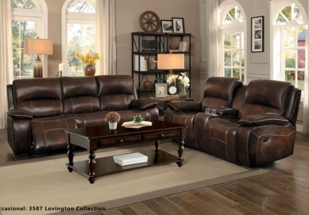 MAHALA COLLECTION 2PCS SOFA AND LOVESEAT MANUAL RECLINING GENUINE LEATHER MATCH -8200BRW