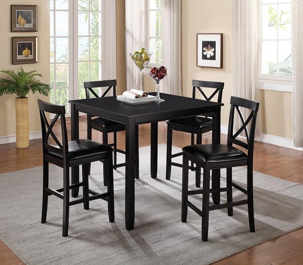 Tahoe 5 Pcs Espresso Modern Pub Dining Set Collection By Happy Homes