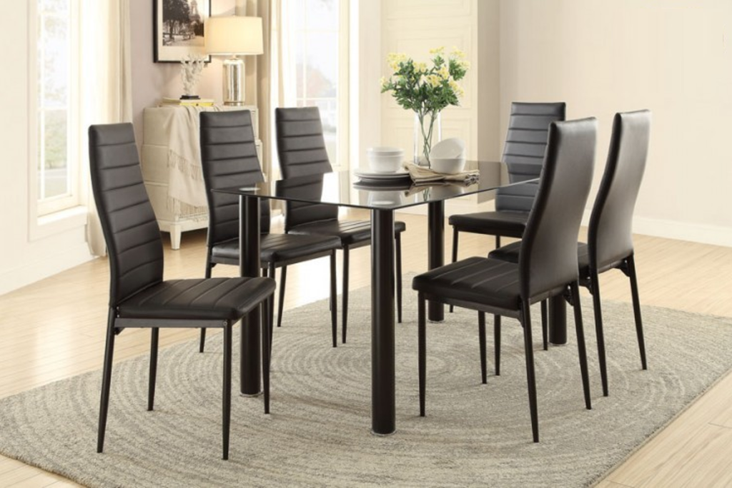 FLORIAN COLLECTION 5PCS DINING SET IN BLACK