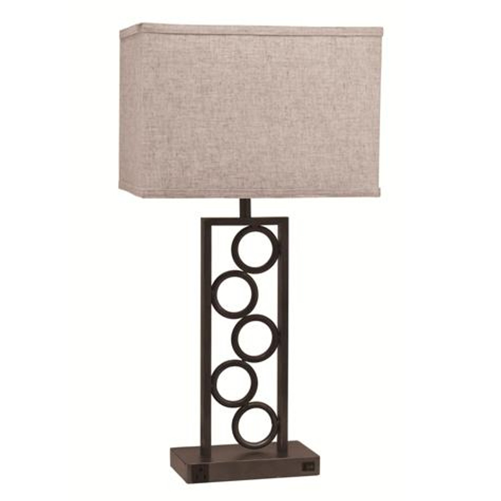 TACK CIRCLE LAMP WITH OUTLET ESPRESSO (SET OF 2)-6234T-ESP