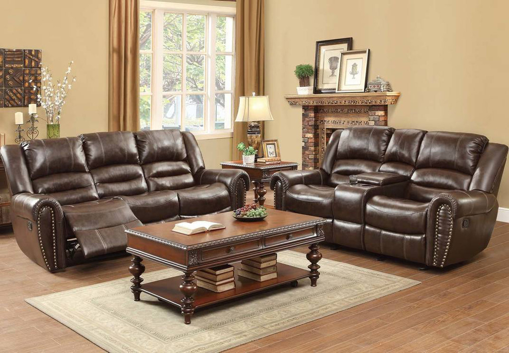 CENTER HILL RECLINING SOFA AND LOVE SEAT 2 PCS SET-9668BRW
