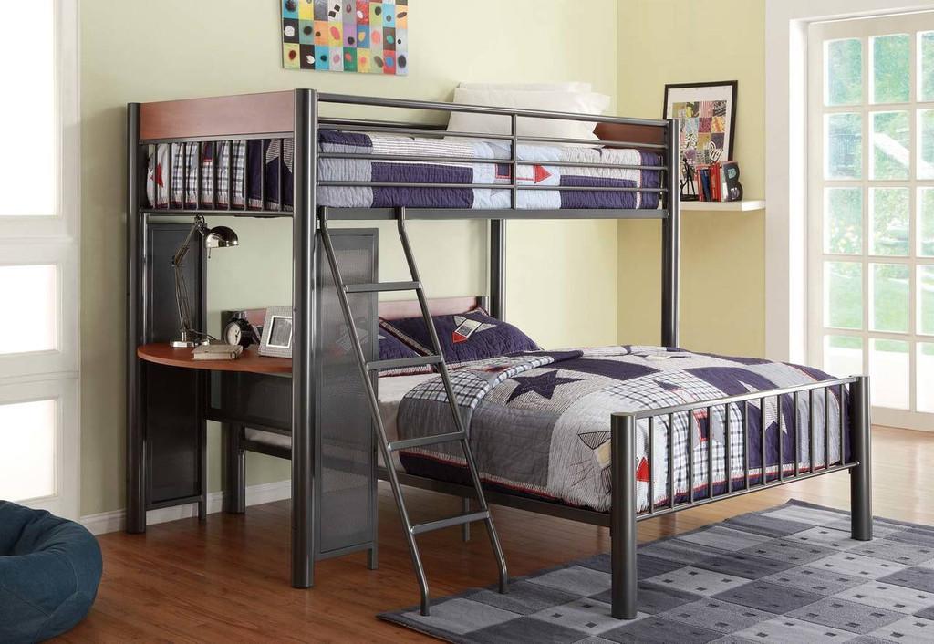 DIVISION TWIN/FULL LOFT BED LIGHT GRAPHITE-B2008TF