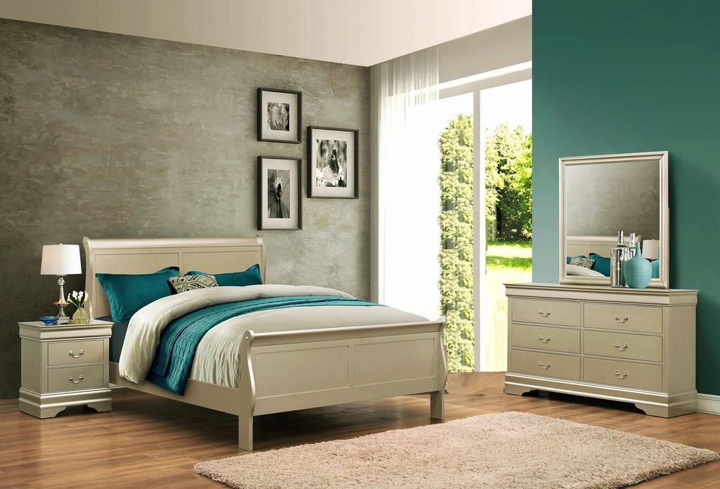 6PCS LOUIS PHILLIP BEDROOM SET IN CHAMPAGNE