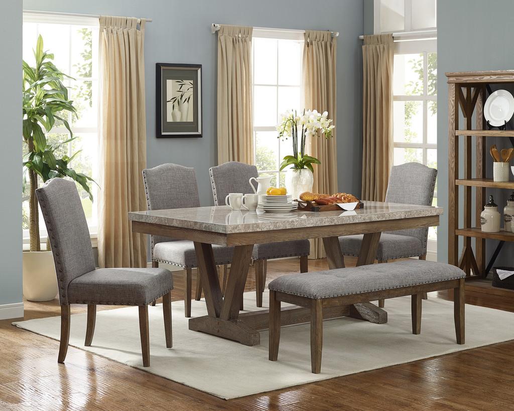 VESPER MARBLE DINING TABLE 5 PIECE SET-1211T-4272