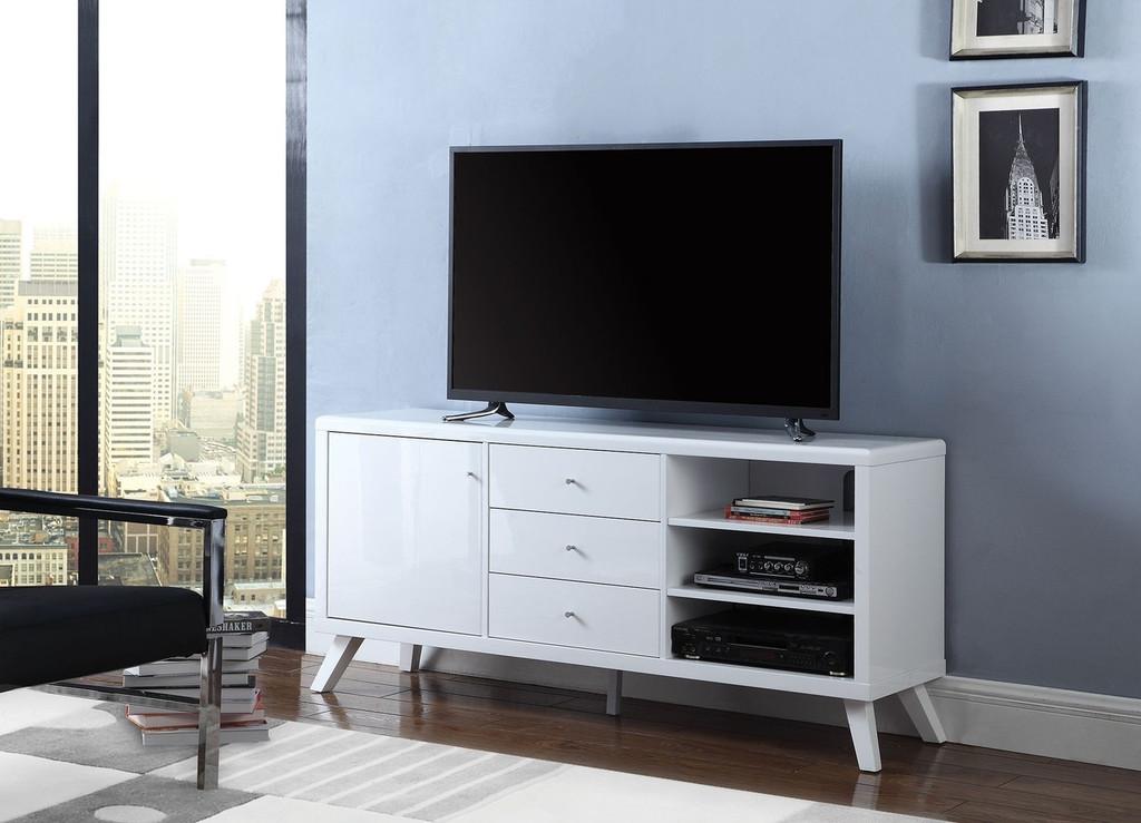 Glossy White  Center Drawer TV Stand