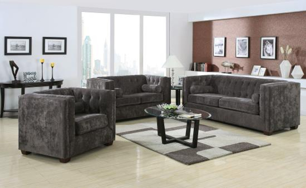 Alexis Charcoal 2 Pcs Living Room Set Sofa Loveseat Kassa Mall