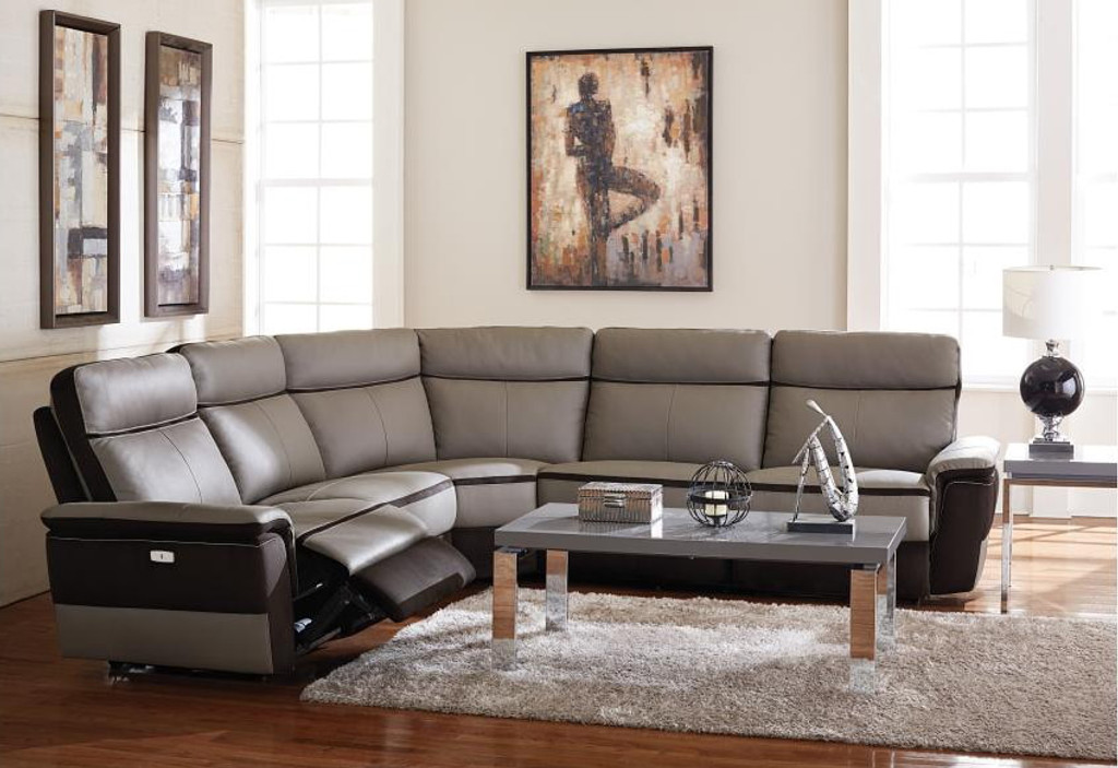 Leaertes Collection Contemporary Power Recliner Sectional Top Grain