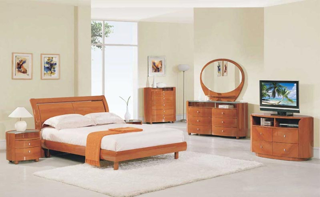 6PCS CHERRY MODERN COSMO GLOSSY COLLECTION BEDROOM SET