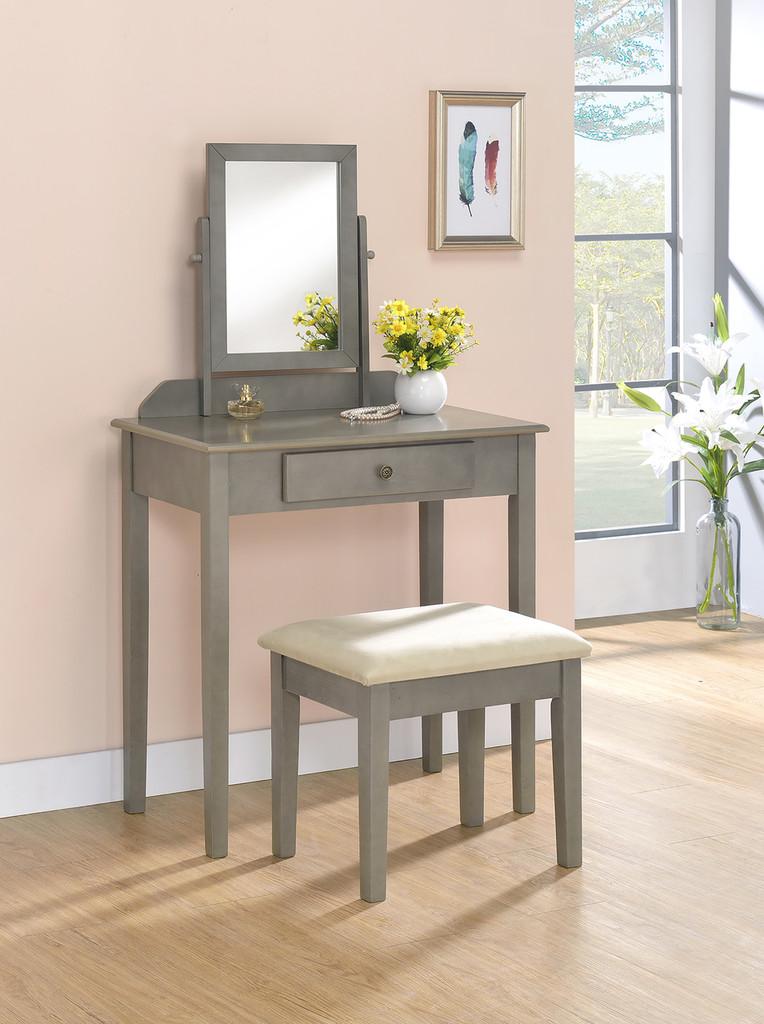 IRIS VANITY TABLE & STOOL GREY-2208SET-GY