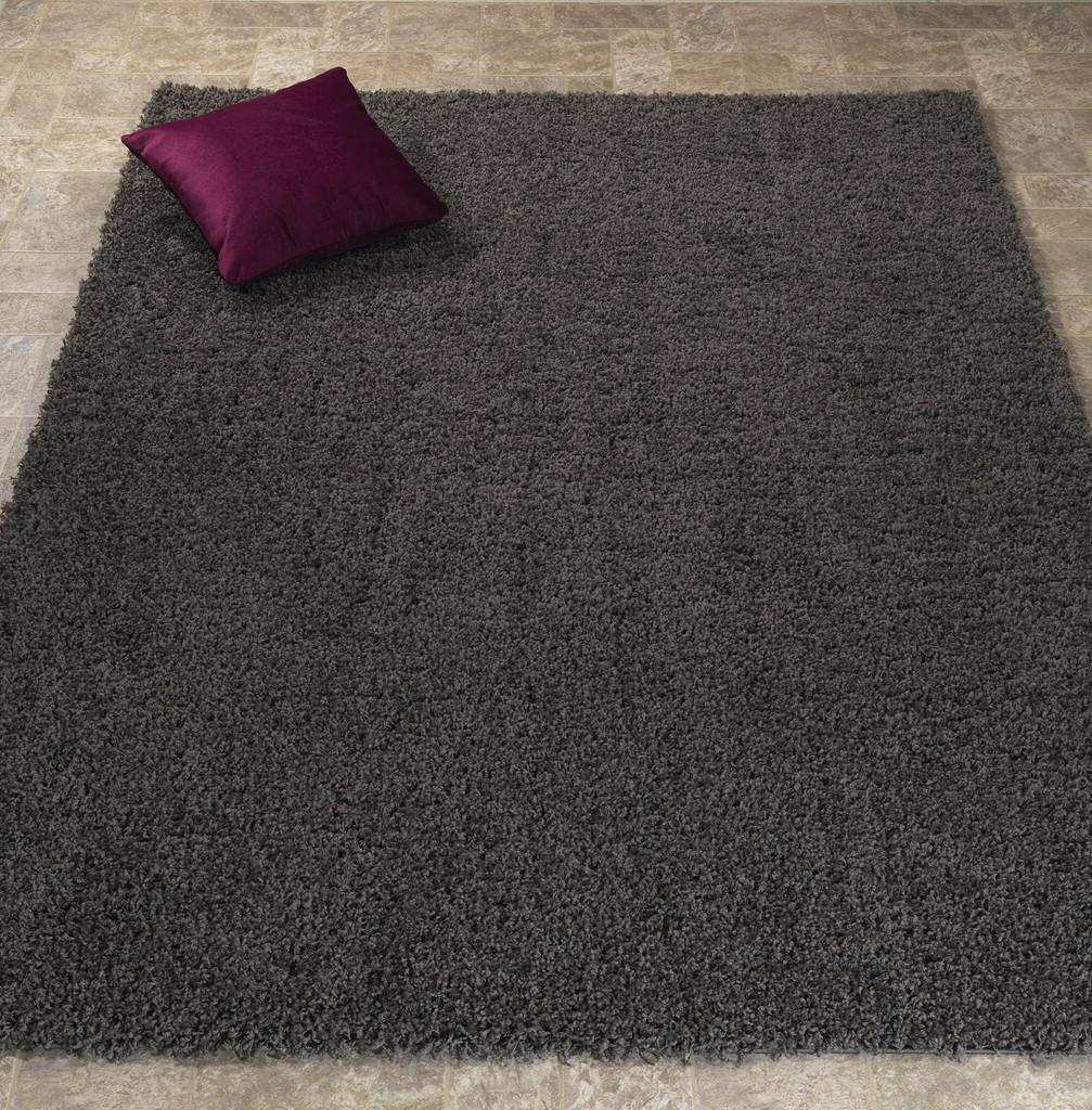 Cozy Solid Dark Grey Shag Area Rug