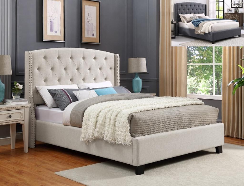 Eva King Bed In Grey Color Special