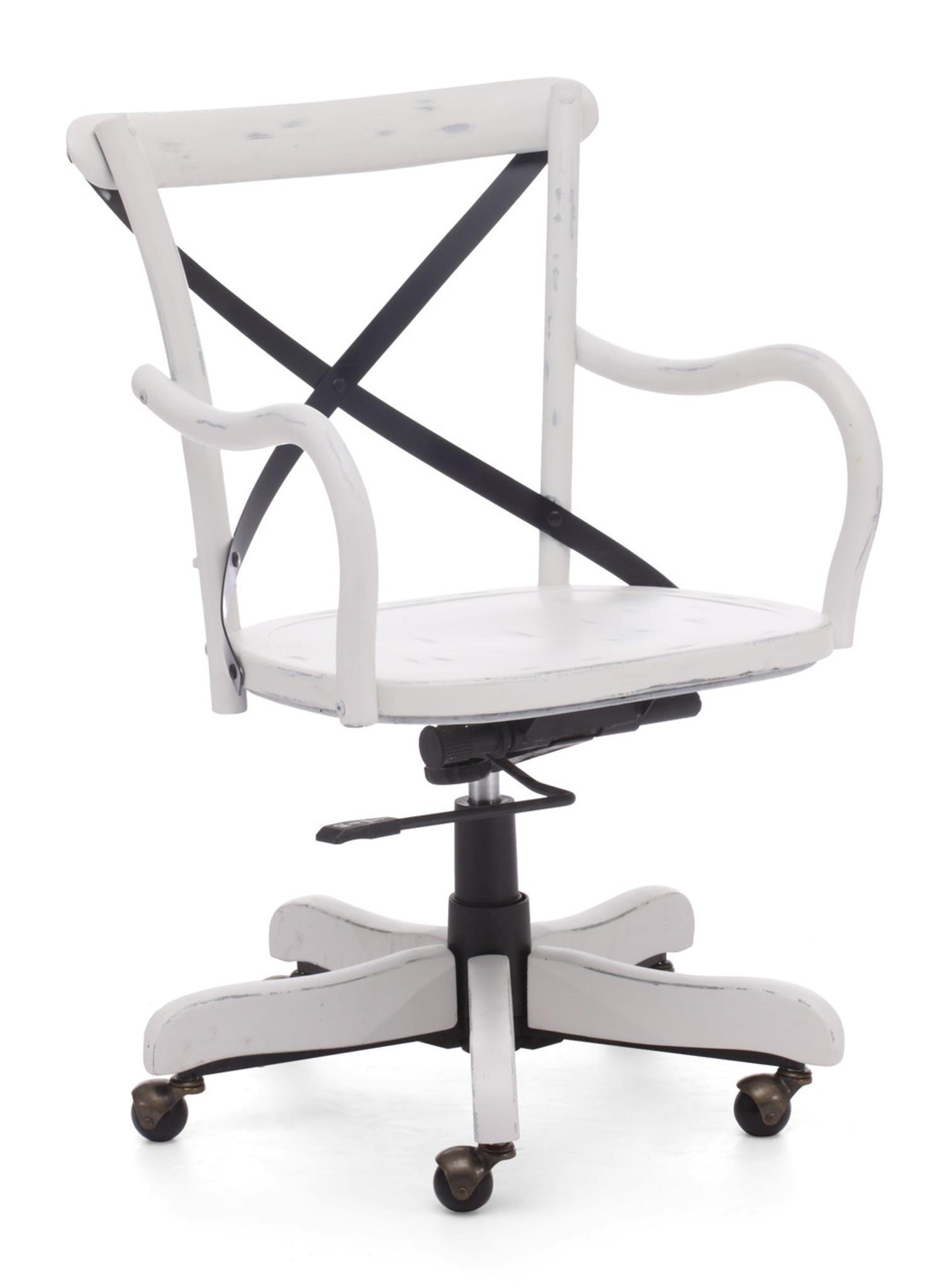 98032 Union Square Office Chair Antique White 816226022111 Seating Modern Antique  White Office Chair by Zuo - Union Square Office Chair Antique White