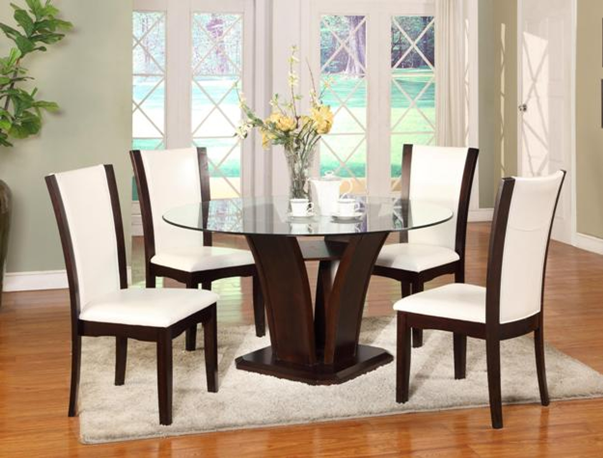 Camelia White Round Dining Formal Set 5pc Km Home Furniture Mattress