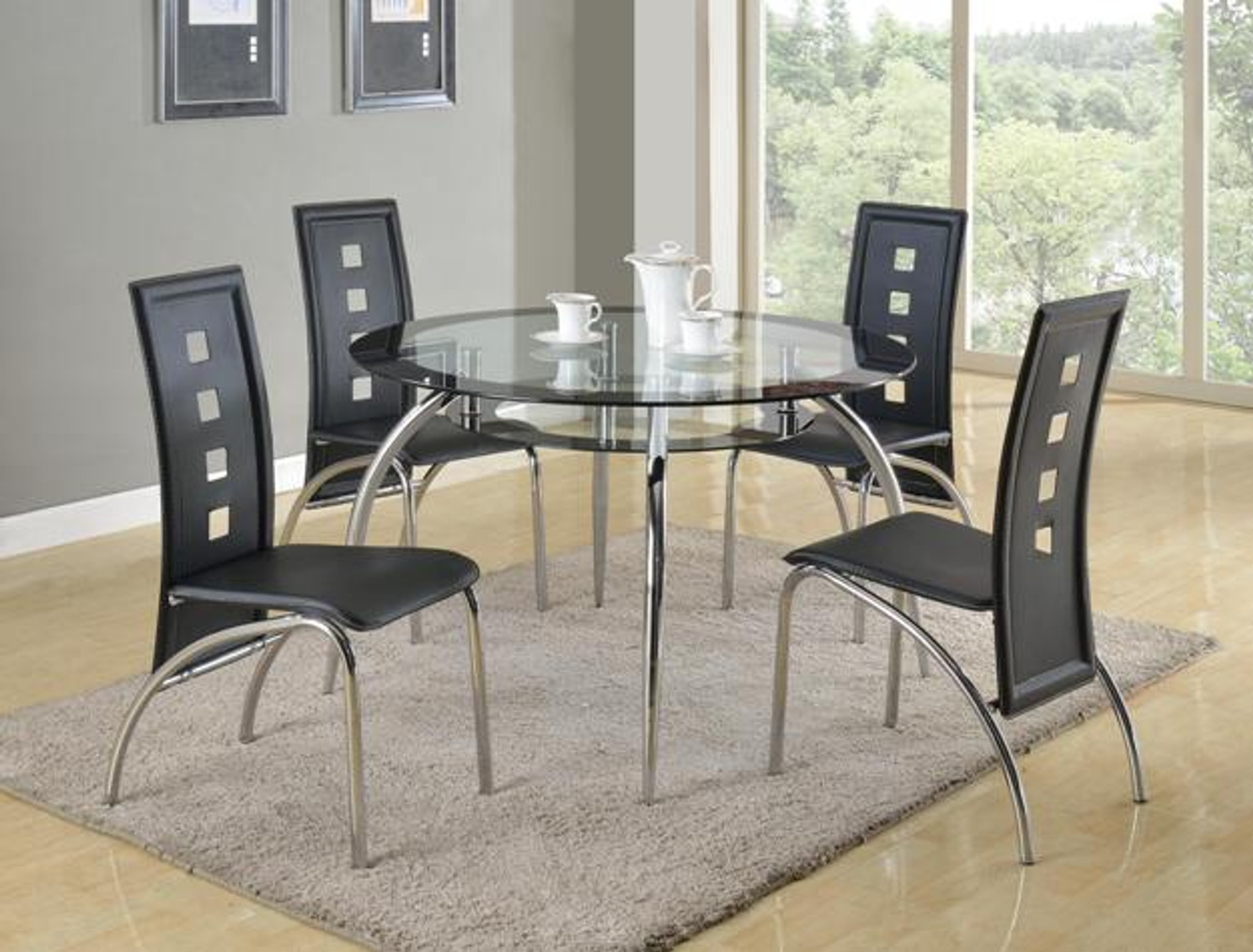 Picture of: 1270 Crown Mark Mila Round Glass Dining Table Top 5 Piece Set