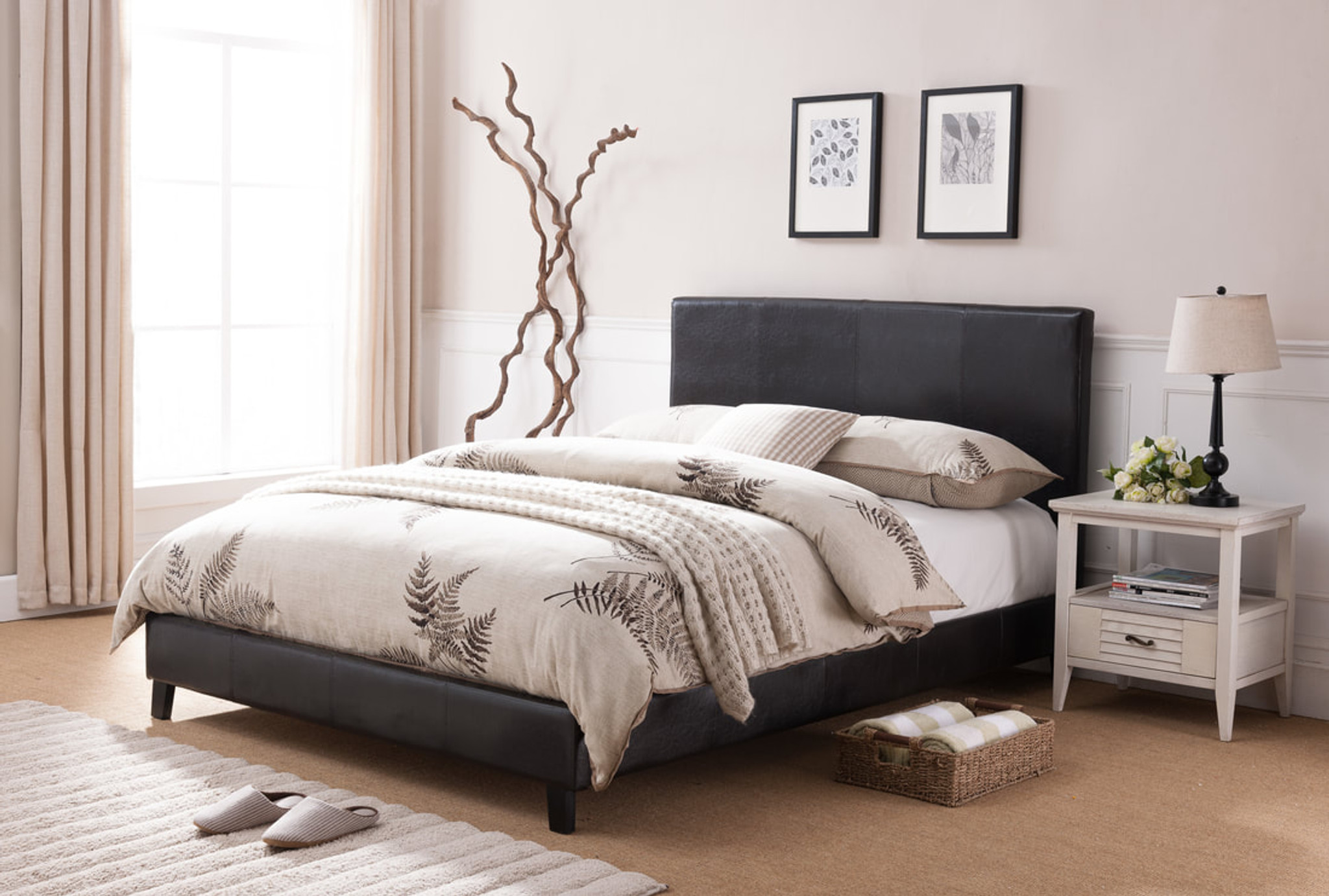 Lorenzo Black Leather Platform Bed No Boxspring Required Km Home Furniture