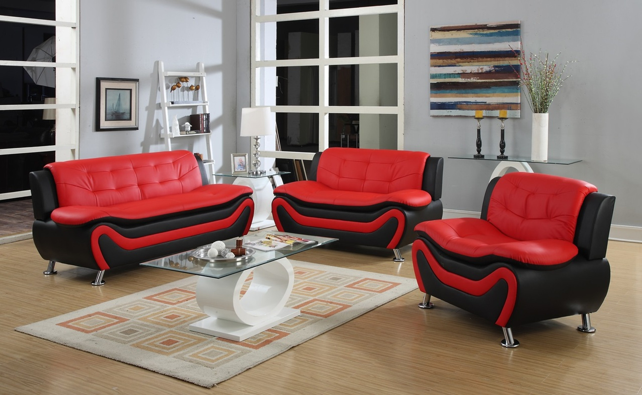 GIANCARLO RED AND BLACK LIVING ROOM SET - Kassa Mall Home Furniture