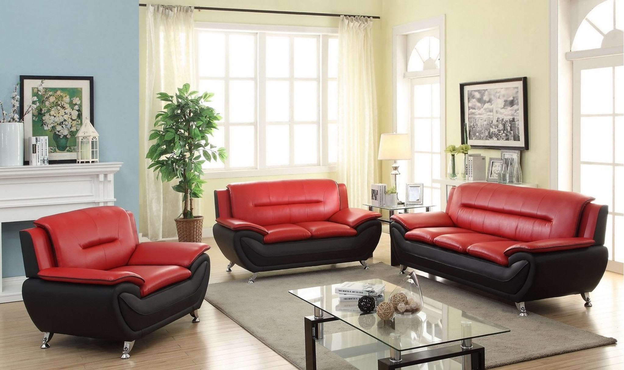 2PC PATRICK CONTEMPORARY SOFA AND LOVESEAT IN RED - Kassa Mall Home ...