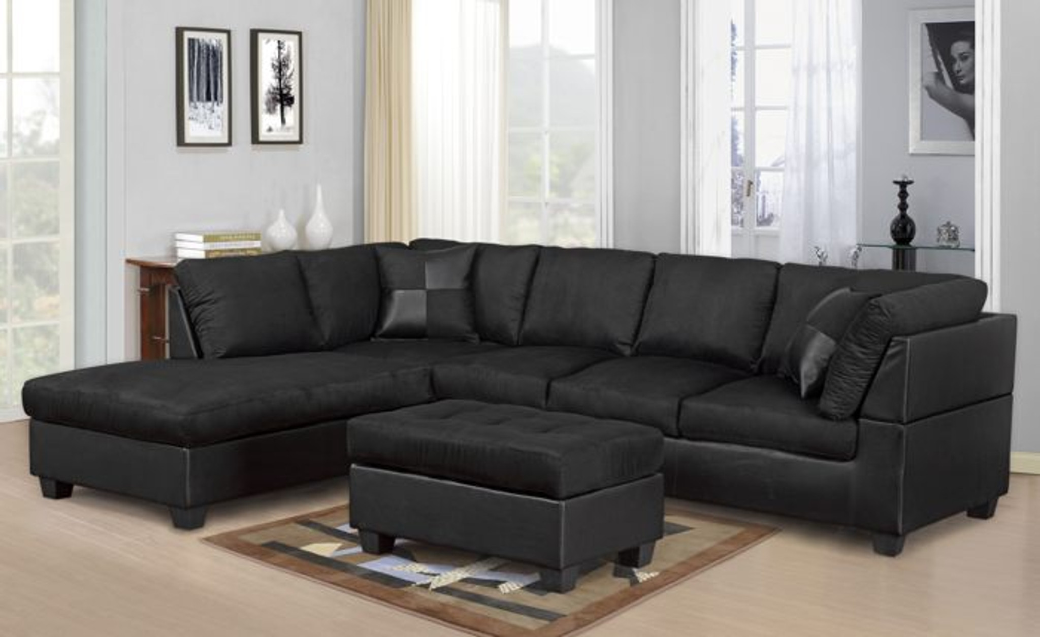 Modern 2 Pcs Cypress Black Color Sectional Sofa And Chaise Set Km Home Furniture