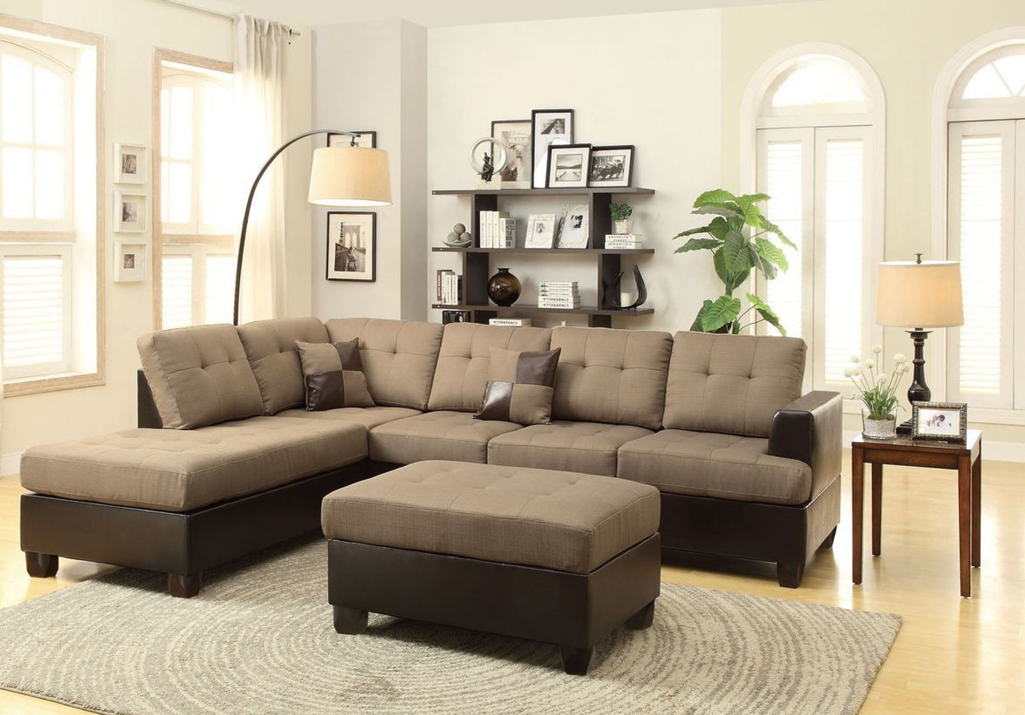 3PC CARLY SECTIONAL WITH OTTOMAN IN BLENDED LINEN TAN