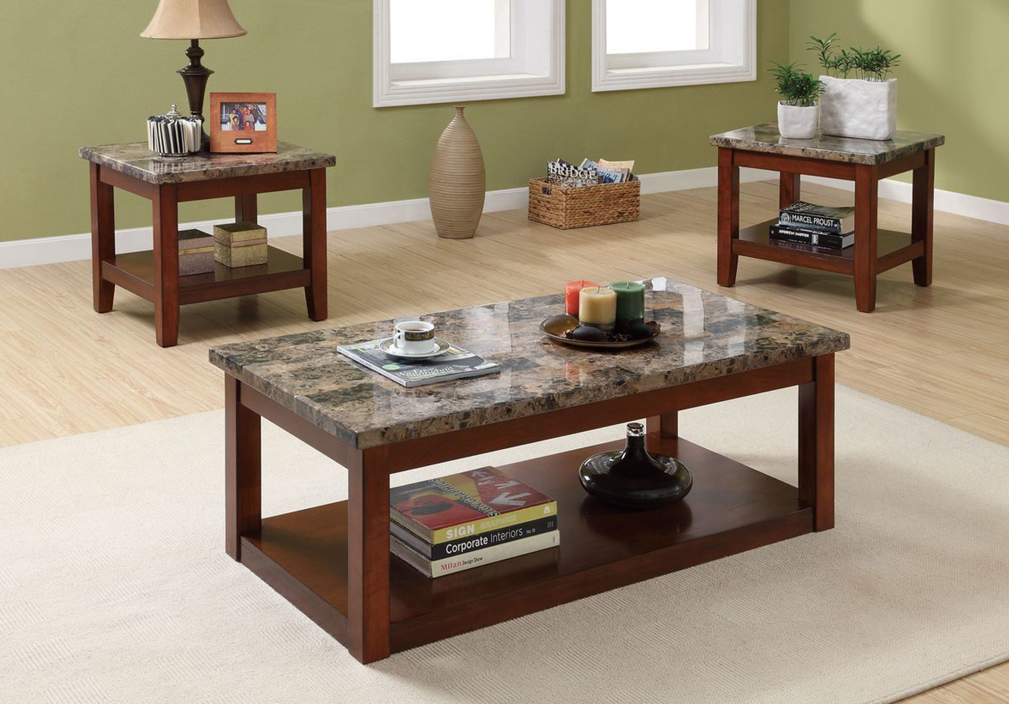 3 Pcs Coffee Table Set W Faux Marble Top Km Home Furniture