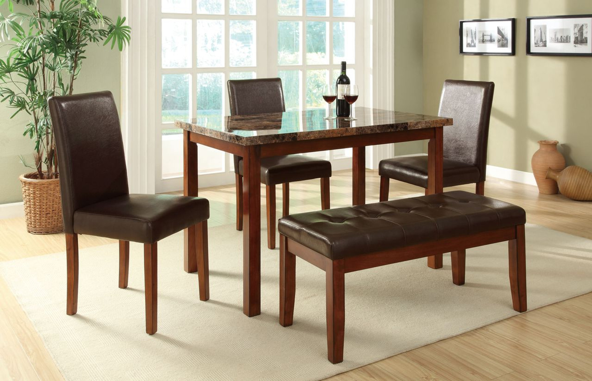 5-PIECES MARBLE FINISH TABLE TOP BROWN FAUX LEATHER DINING ROOM SET