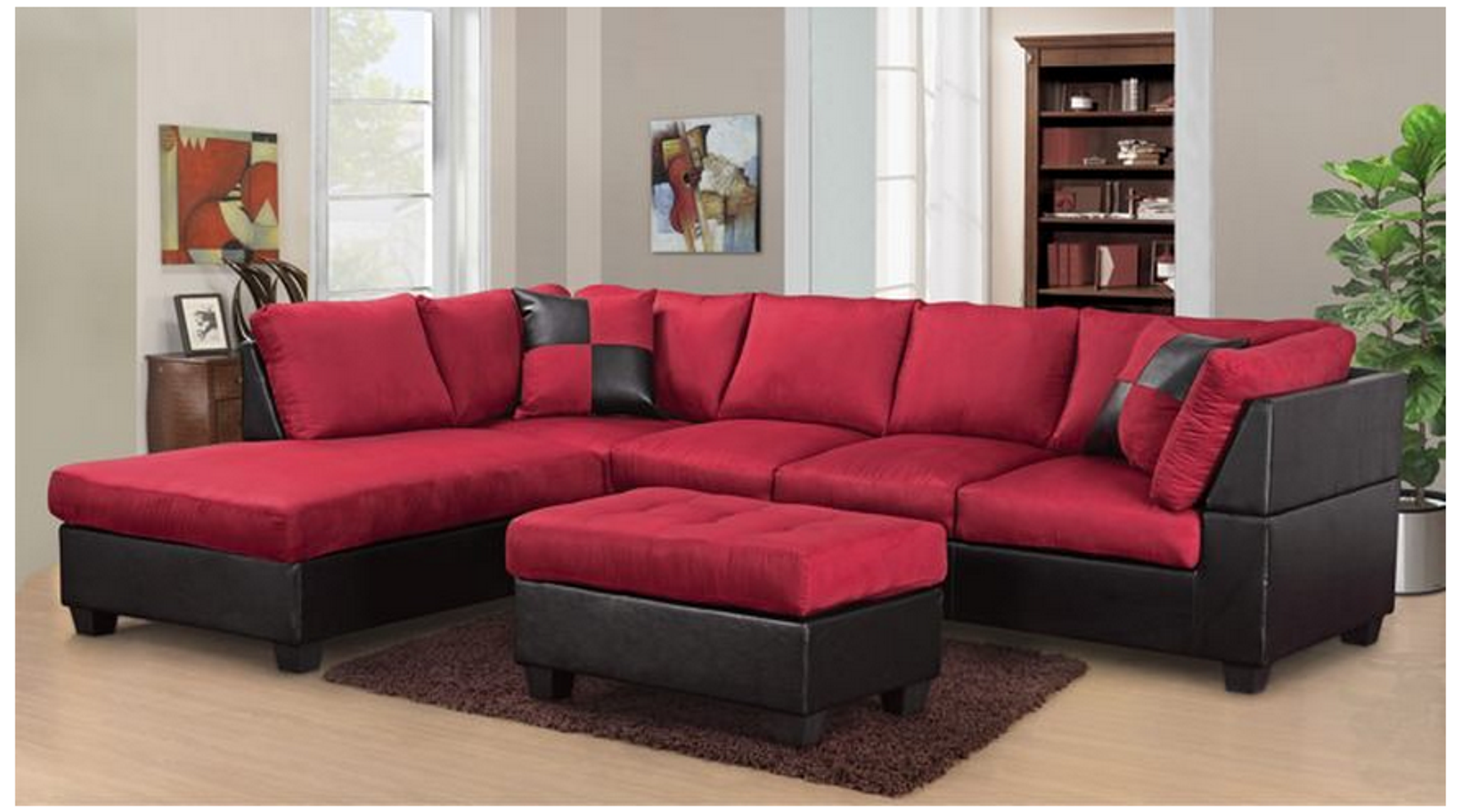 Modern 2pcs Sectional In Red Microfiber And Black Leather Kassa