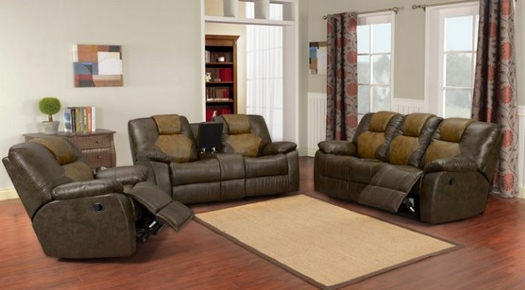 3pc Brantley Two Tone Leather Reclining Set Kassa Mall Home