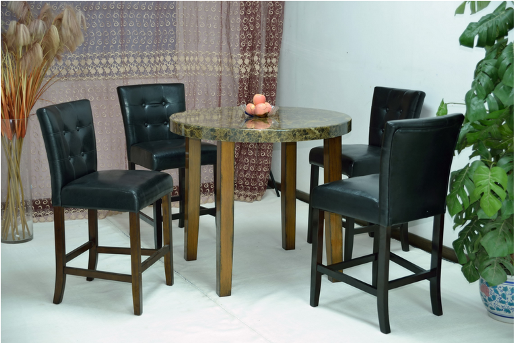 Black Cream Brown Marble Round Top Dining Table With Black Glossy Leather Chair 5 Piece Set Km Home Furniture