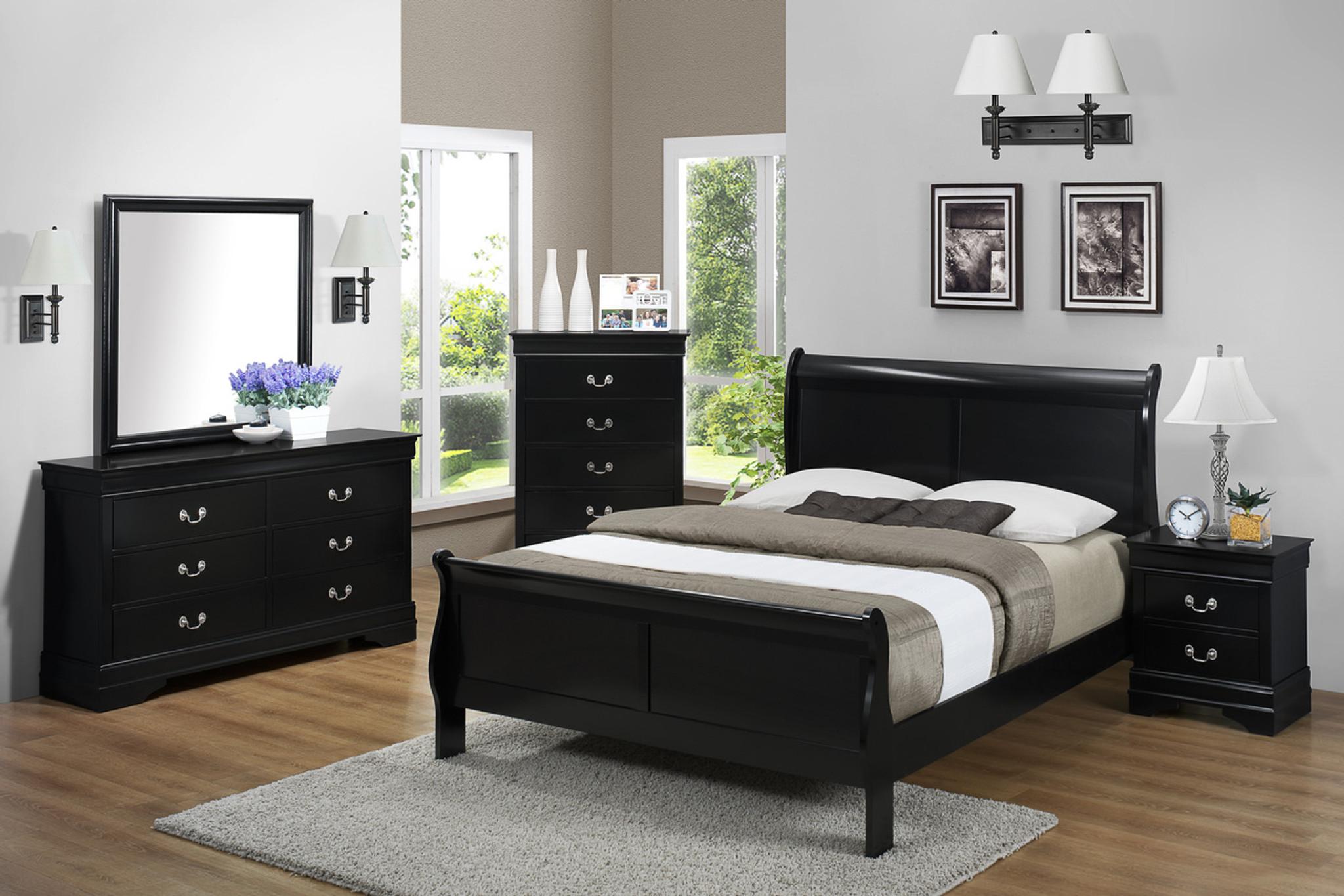 7pcs Louis Phillip Bedroom Set In Black Km Home Furniture Mattress