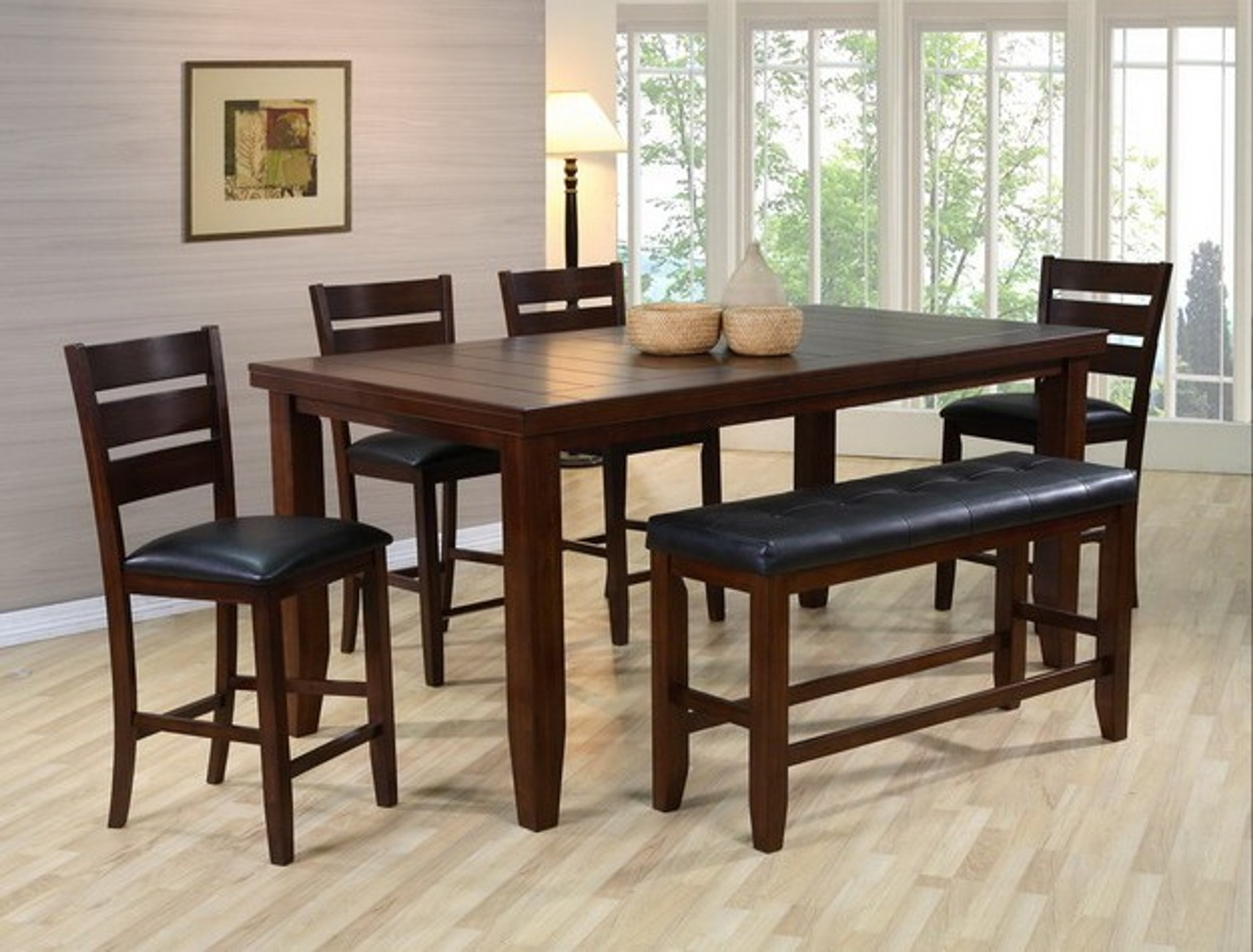 Pleasant Bardstown Counter Height Dining Table Top 5 Piece Set W Bench Beatyapartments Chair Design Images Beatyapartmentscom