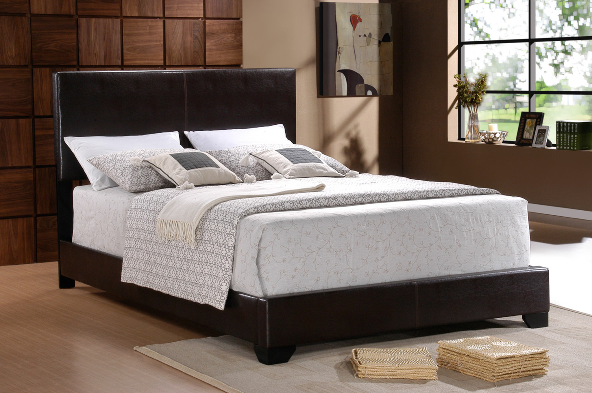 various colors 3a4c7 c8940 ERIN BLACK LEATHER BED FRAME MATTRESS AND BOXSPRING