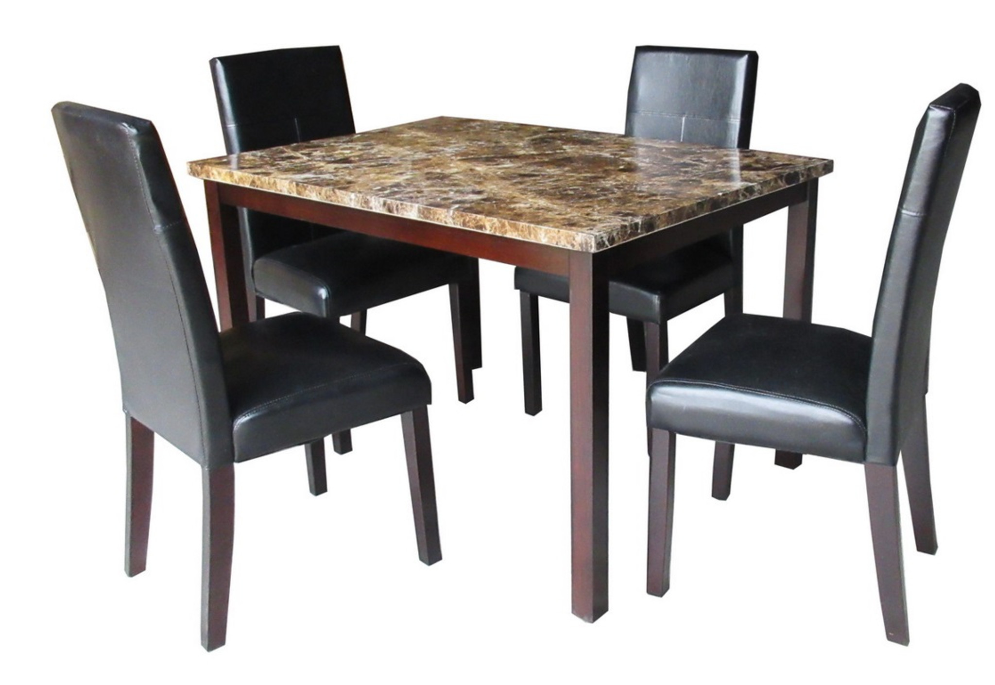 Antonella Cherry Brown 5 Pcs Faux Marble Top Dining Table Set Km Home Furniture Mattress