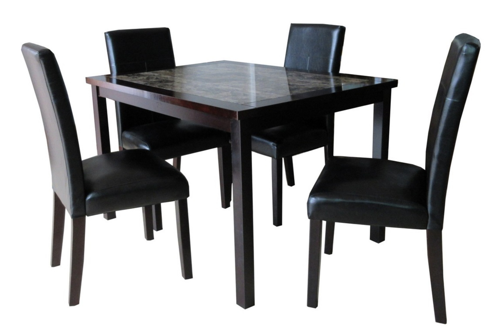 LUCIANA ESPRESSO BROWN 5 PCS FAUX MARBLE TOP DINING TABLE SET