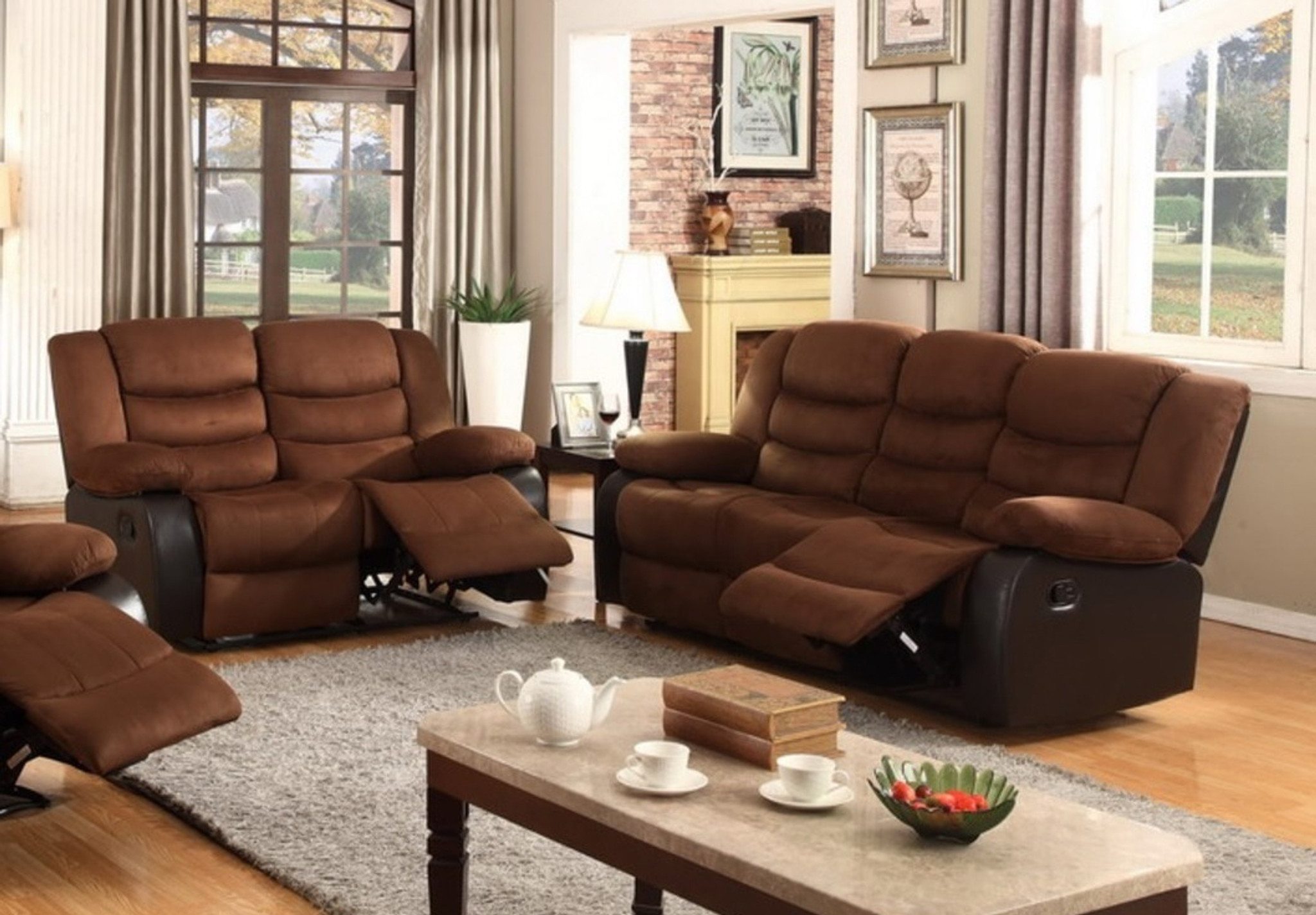 Wondrous 2Pc Dakota Microfiber Recliner Sofa And Loveseat Machost Co Dining Chair Design Ideas Machostcouk